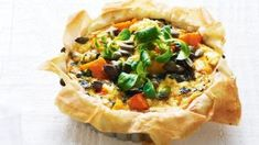 Phyllo Recipes, Pie Recipes, Cooking Recipes, Cooking Ideas, Food Ideas, Dinner Recipes, Vegetarian Quiche, Vegetarian Side Dishes, Pizza