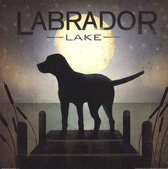 Moonrise Black Dog - Labrador Lake, Ryan Fowler