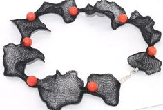 Hard MESH Necklace 40cm Mix metal mesh with pearl clasp pairing with ...