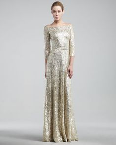 MOB  David Meister  Metallic Lace Gown