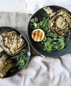 grilled artichokes marinated in garlic + lemon //