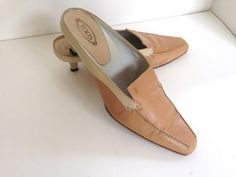 Great Looking Camel & Ivory slip on shoes withe a 1 Heel. soft and supple highest quality leather. size: 9 condition: very gentle use, some wear on the heels as seen in photos. Thing 1, Slip On Shoes, Kitten Heels, Buy And Sell, Leather, How To Wear, Stuff To Buy, Accessories, Fashion