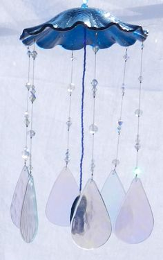 Blue Stained glass and crystal windchimes by OrnateAccents on Etsy