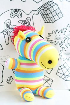 Handmade Sock Zebra Stuffed Animal Doll Baby Toys by Toyapartment, $15.90