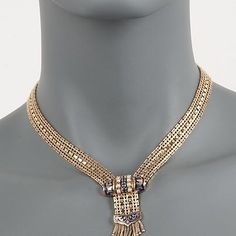 """Ross-Simons - C. 1970 Vintage Cultured Pearl and .45 ct. t.w. Sapphire Tassel Necklace in 14kt Yellow Gold. 15"""" - #812276"""