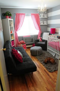 How I could change grey/white from a boy room to a girl room by changing the accent color