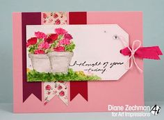 Art Impressions Rubber Stamps: WC EZ Project A (Sku#4271) Handmade watercolor, water color cards with tags. flowers, watering can, garden gate.