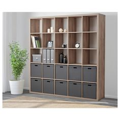 IKEA - KALLAX, Shelf unit, walnut effect light gray, , You can use the furniture as a room divider because it looks good from every angle. Etagere Kallax Ikea, Ikea Kallax Shelf Unit, Ikea Kallax Regal, Kallax 5x5, Ikea Kallax Hack, Office Shelf, Office Decor, Office Bookshelves, Bookcases