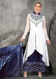 Casual Wear White Cotton Embroidered Work Plazzo
