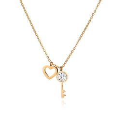 2017 New Creative Promise Key Necklaces For Women CZ Stone Heart Gold Color Pendants Stainless Steel Choker Necklace Jewelry #Affiliate