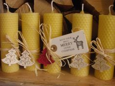 5 x Large/Extra Large Pure Christmas Beeswax Candles, Beautifully Packaged, Handmade, Size Options