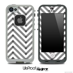 Sketchy Chevron Pattern Black and White Skin for the iPhone 5 or 4/4s LifeProof Case