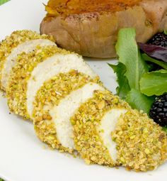 Pistachio Crusted Chicken - Crispy panko and bright green crunchy pistachio coated chicken breasts
