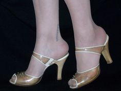 1950s clear peep toe slides. What?!