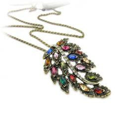 Old Fashioned Multicolor Rhinestone Leaf Long Chain Necklace