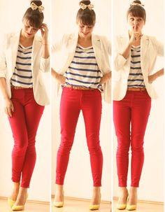 calça skinny, vermelha, blusa listrada, listras, navy, estilo, blazer branco, sapatos coloridos, coque,