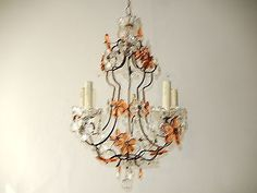 c-1920-French-Peach-amp-Clear-Flower-Prisms-Maison-Bagues-Chandelier-Huge-RARE