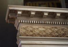 Corner of pediment, showing oak-leaf frieze and enrichments.