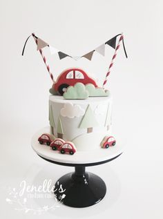 Cookie car baby shower cake. By Jenelle's Custom Cakes!