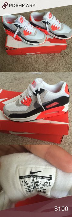Nike Air max 90 infrared Nike Air max 90 infrared in size 4.5y which is equivalent to a woman's size 6. Very rare color mix. Only worn once in excellent condition Will ship with box. Nike Shoes Sneakers