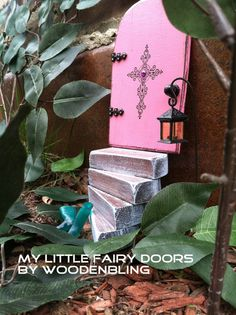 New Fairy garden set, Pink door w/cross and a set of light blue stairs and a sign. Valentines day gift!