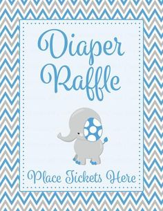 Diaper Raffle Tickets - Printable Download - Blue & Gray Baby Shower Invitation Inserts - B3004