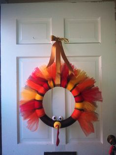 Tom Turkey 14inch HandMade Tulle Wreath by AllysonClaire