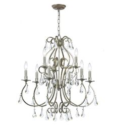Crystorama Ashton 9 Light Chandelier in Olde Silver 5019-OS-CL-MWP #crystorama #lightingnewyork #crystallighting #lighting
