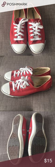 Converse All Star Tennis Shoes red white 7 1/2 Converse All Star Tennis Shoes red white size 7 1/2. In good used condition. Just needs a little cleaning up! Converse Shoes Athletic Shoes