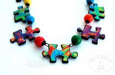 Collana Puzzle piccola POP FROG per Miriam by Filo e colori di Ila, via Flickr