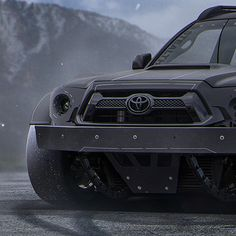I suppose you could just say I wanted to make something simple-ish that you would expect to find in a Neil Blomkamp movie haha. Plus I haven't done many trucks, thought I'd make it on-road only, or...is it? *Imagination goes wild* Featuring White to Black gradient tires xD. Stealth Custom Series Tacoma shot by @Kacelogik