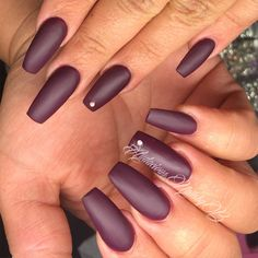Vampy fall colors full set acrylic coffin nails, matte violet by ORLY