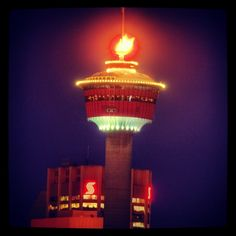 Calgary tower on fire! Hdr Photography, Calgary, Seattle Skyline, Tower, Chandelier, Fire, Ceiling Lights, Lighting, Instagram Posts
