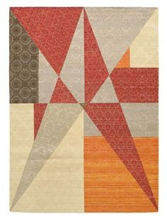 """Collage Transitional Dhurrie, Dark Red/Grey, 5' 7"""" x 7' 9"""""""