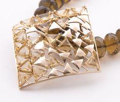 citrine and gold in a quartz bead string www.studiotara.com