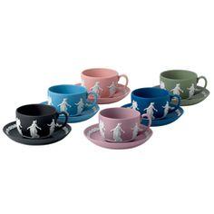Wedgwood Jasperware Dancing Hours Teacup & Saucer Set Zoom