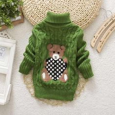 2015 Baby Girls Boys jumper Autumn Winter Cartoon Sweaters Children Kids Knitted Pullover Warm Outerwear Babi Turtleneck Sweater