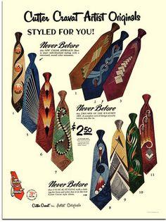 Early 1950s, men's Cutter ties in art prins