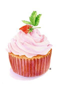 Strawberry Cupcake Food by ForestSpiritArt