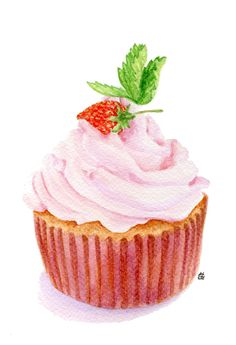 ORIGINAL Painting - Strawberry Cupcake (Food Watercolors Wall Art, Still Life) A5