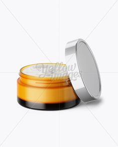 Open Orange Cream Jar With Metallic Cap Mockup (High-Angle Shot)