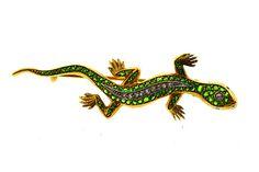 Green Lizard Demantoid Garnet Pin
