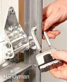 Garage Security Tips - Lock the track when you leave home for an extended period. Garage Security Tips - Lock the track when you leave home for an extended period. Garage House, Garage Shed, Garage Workshop, Garage Doors, Garage Signs, Garage Cupboards, Garage Bar, Garage Workbench, Diy Workshop