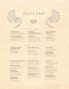 Jilly's Cafe menu. Quiet type.