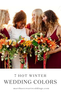 Erica's bridesmaids wore maroon gowns from Reformation and carried on-palette bouquets by Studio Choo. Orange Bridesmaid Dresses, Wedding Bridesmaids, Wedding Attire, Wedding Bouquets, Wedding Hairstyles For Long Hair, Bride Hairstyles, Bridesmaid Hairstyles, Long Hairstyle, Winter Wedding Receptions