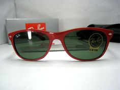 Cheap Ray Ban RB2132 Sunglasses In Red Mix Black with Glass lens    Ray Ban RB2132 Sunglasses Frame Size: 55-18 mm (Eye-Bridge-Temple)  All Colors: Blue or Black or Red or White or Tortoise.  Accessories: Same as original, Coming with RayBan case, box, pouch, warranty card, etc.    Sunglasses Features:  1> Full sun protection  2> Comfortable frame  3> Sleek slightly wraparound lenses