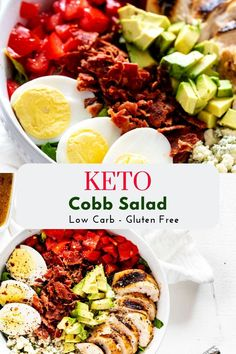 This Low Carb Cobb Salad is a fabulous lunch that proves that salads are anything but boring! A delicious sugar-free Cobb salad dressing with just the right balance of sweet and heat tops crisp romaine, tender grilled chicken, bacon, boiled eggs, avocado, tomatoes, and blue cheese. This gluten free recipe is perfect for lunch and works for a clean eating, keto, or gluten free diet! PINNING! #kickingcarbs #KetoCobbSalad #ChickenCobbSalad #KetoSaladRecipe