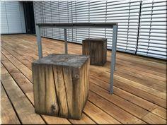 Antique wood furniture - Industrial loft furniture, Garden b Wooden Floor Tiles, Wooden Flooring, Loft Furniture, Wooden Furniture, Garden Poles, Rustic Fence, Metal Fence, Loft Design, Industrial Loft