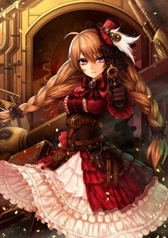 Anime picture 				1000x1414 with  		original 		curry bowl 		long hair 		single 		tall image 		looking at viewer 		brown hair 		purple eyes 		braid (braids) 		girl 		dress 		weapon 		gun 		mini top hat