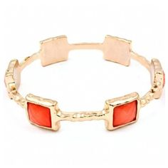 Thea's Orange Stone Studded Gold Bangle ($24) ❤ liked on Polyvore
